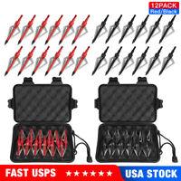 12-24pcs 100grain 3 Blade Crossed Broadhead Arrow Head Bow Archery Hunting