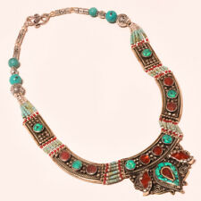 "Tibetan Turquoise Red Coral Handmade Gemstone Jewelry Nepali Necklace 18""NN-238"