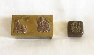 TWO UNUSUAL ANTIQUE 19TH CENTURY JAPANESE MEIJI COPPER  BRASS & BRONZE BOXES