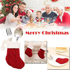 Knitted Stocking Sock Xmas Cutlery Cover Candy Gift Bag Christmas Tree Hanging Z