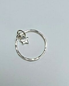 Handmade sterling silver charm ring with star , stacker, thumb ring, midi ring.