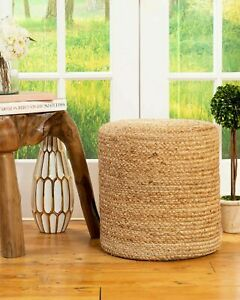 Pouf Cover Natural Jute Braided Home Decor Foot Stool Living Room Ottoman Cover