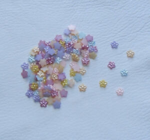 100 x 7mm Pearl Flower Embellishments in 6 Mixed Colours