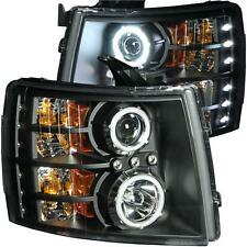 FITS 07.5-14 CHEVY CHEVROLET ANZO BLACK PROJECTOR HEADLIGHTS W/ CCFL HALO..