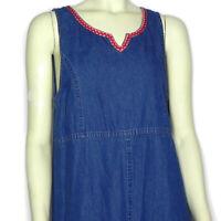 Agan Womens M Denim Dress Jumper Long Sleeveless Floral Embroidered Teacher