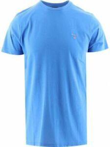 GANT Men's Classic Crew Neck T-Shirt Cotton Blue Short Sleeve Crew Neck Top