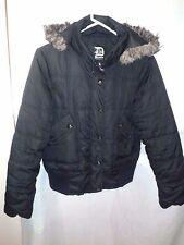 DOLLHOUSE WOMEN'S Parka Puffer Fall Coat Black Faux Fur REMOVABLE Hood XL EUC FS