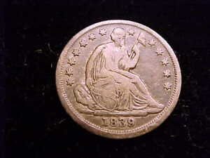 1839 Seated Liberty Half Dime, Fine in Grade.  A nice NEVER cleaned coin.