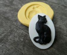 Beautiful KITTY  cameo silicone push mold  polymer clay resin sugar craft USA