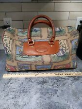 Vintage Blooming Bags Duffle Bag Leather Canvas Tapestry Travel