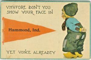 Hammond IN Dutch Boy Red Pennant Greetings from Hammond 1914