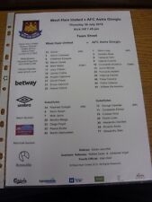 30/07/2015 COLORI teamsheet: West Ham United V ASTRA Giurgiu Friendly []. grazie