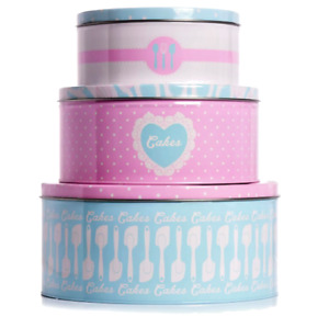 Set of 3 Round Nesting Baking Cake Storage Tins Biscuit Carriers Sweet Caddies