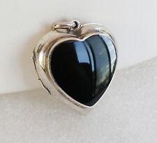 Vintage 925 Sterling Silver Black Onyx Heart Locket Pendant