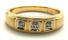 Men's Sterling Silver 925 Gold Tone Three Stone Diamond Matte Band Ring Sz 10.5
