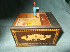 Wooden Cigarette Box Dispenser Man Pick Up Cigarette Inlaid Marquetry JAPAN