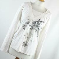 C&A Womens Size L White Floral Cotton Blend Top