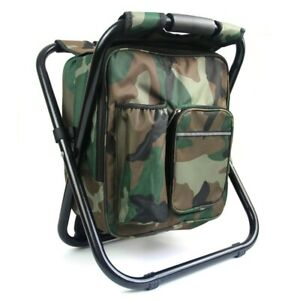 Folding Camping Chair Stool Backpack  Camouflage Portable Hiking Seat Table Bag