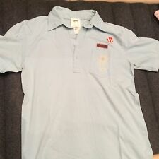 American Apparel Super Soft Light Blue Pocket Polo Shirt, Made in USA, Size L