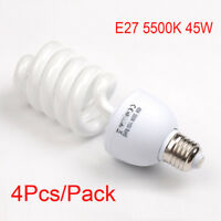 4X 45W E27 5500K 110V Daylight Bulb Energy Saving CFL photography Studio Light
