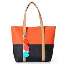 Vincenza Designer Dianora Orange Black Vegan Leather Tote Handbag USA