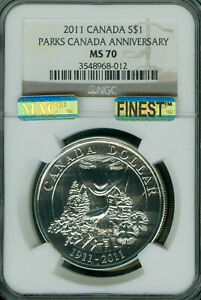 2011 CANADA $1 SILVER NATIONAL PARKS DOLLAR NGC MAC MS70 MAC FINEST & SPOTLESS *