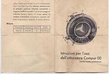 ISTRUZIONI PER L'USO DELL'OTTURATORE COMPUR 00 F. DECKEL MUNCHEN   16-108