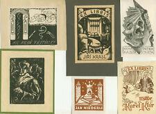 8 Ex libris Art Deco medic Exlibris by various artist / Czech