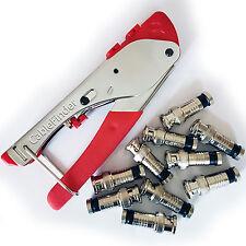 3 in 1 Coaxial Compression Crimp Tool & 10x BNC Male Connectors - RG59 CCTV Plug