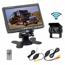 "Wireless 12v / 24v IR Rear View Backup Camera  System + 7"" Monitor For RV Truck"