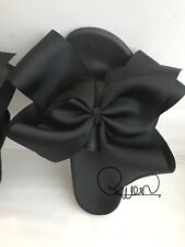 Beautiful Big Black BOW Sliders Handmade Big Oversized Bows Size 3-7uk