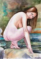 "Original Aquarell, A3, ""Steine & Wasser "" Akt, nude, nudo, Erotik Akt, Milamas"