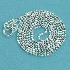 """1.5MM Sterling Silver Ball Chain Necklace With Springring Clasp 24"""" Length"""