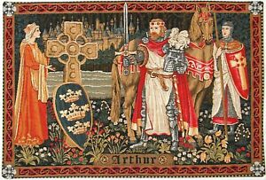 """KING ARTHUR MEDIEVAL 27"""" X 19"""" FULLY LINED BELGIAN TAPESTRY WALL HANGING"""