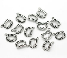 15 Pcs 17mm Tibetan Silver Teeth Fang Pendant Gothic Ghoul Halloween Charms Q44