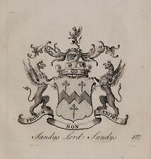 1779 ANTIQUE PRINT ~ Sandys ~ Family Crest Armoiries