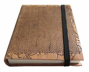 LEDERBUCH Tagebuch 15x11cm Notizbuch Gewebedekor Echt-Leder Kladde blanko