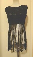 NWT VIVIENNE TAM NAVY BLUE CROCHET Top Sleeveless FRINGED COVERUP Size SMALL