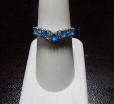 0.77ct Size 7 Neon Blue Apstite & White Topaz Sterling Silver Chevron  Ring