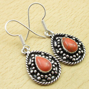Fine 925 Silver Plated Orange Copper Turquoise Earrings 3.8 cm Jewelry Collectio