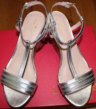 5b8dcb60a72824 Kate Spade Tallin Silver Metallic Nappa Wedge Sandal Sz 10m