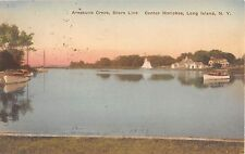 1927? Home & Boats Areskunk Creek Shore Line Center Moriches LI NY post card