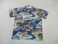 VINTAGE Nautica Polo Shirt Adult Large Blue Green Sailing Rugby Mens 90s