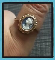Bague Camée Bleu et Plaqué or 18 Carats Tailles 48-50-52-54-56-58-60-62-64-66-68
