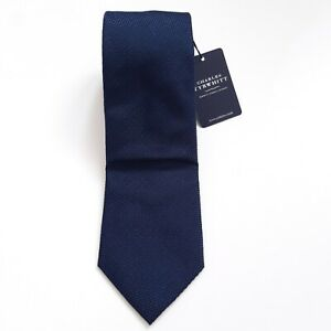 Mens Charles Tyrwhitt Classic Plain Navy Blue 100% Silk Tie BNWT New