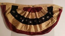 """New Country Primitive Aged Tea Sprayed AMERICAN FLAG BUNTING Americana Swag 40"""""""