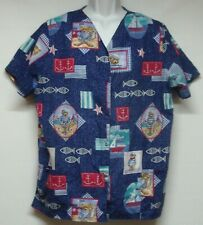 Women's Plus Size Xl Blue Scrub Top Cats Bears Fish Sailboats Nursing Medical