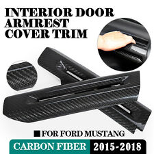 For Ford Mustang 2015-2018 Carbon Fiber Interior Door Armrest Decor Cover Trim
