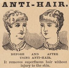 Anti Hair Whisker Remover Lady Cure Woman Before & After Advertising Trade Card