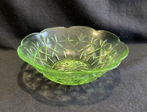 Australian CROWN CRYSTAL Green Uranium Glass Bowl